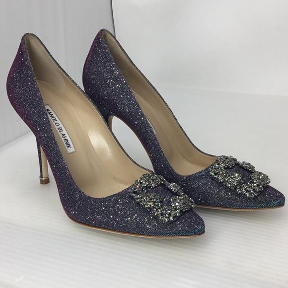 786918df620bc Manolo Blahnik Shoes | Hangisi Midnight Blue Glitter Heel | Poshmark